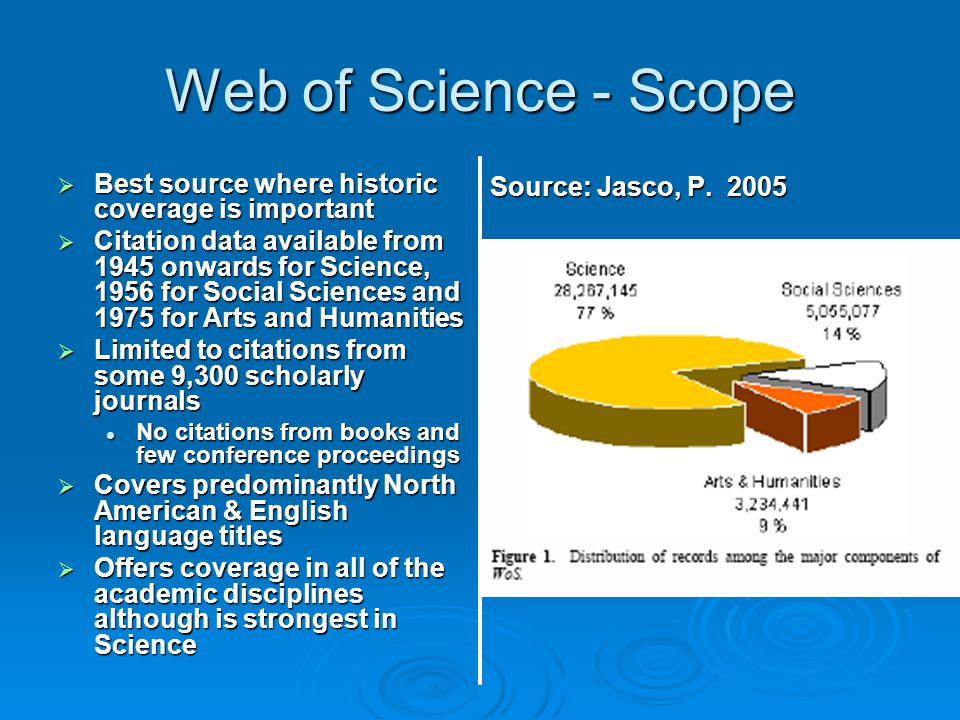 Web of Science - Scope Best source where historic coverage is important.