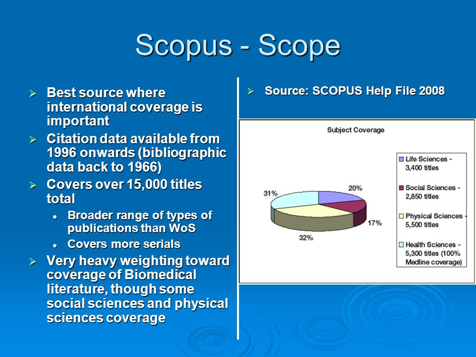 Scopus - Scope Best source where international coverage is important