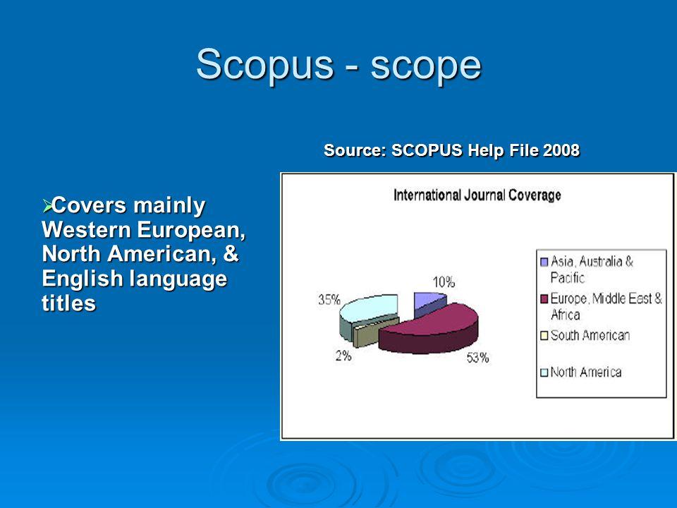Scopus - scope Source: SCOPUS Help File 2008.