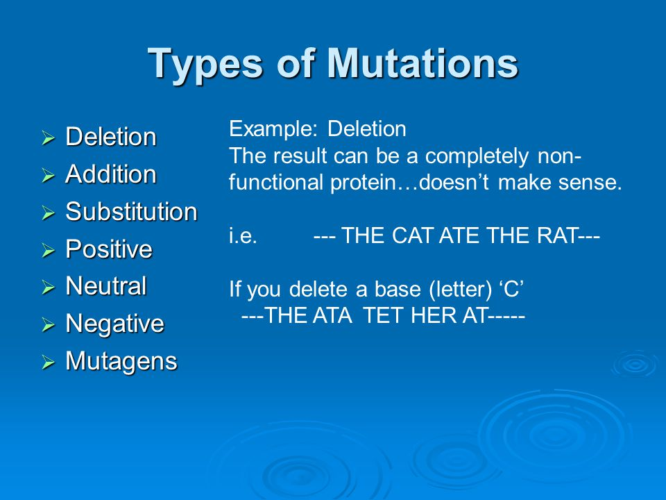 Types of Mutations Deletion Addition Substitution Positive Neutral