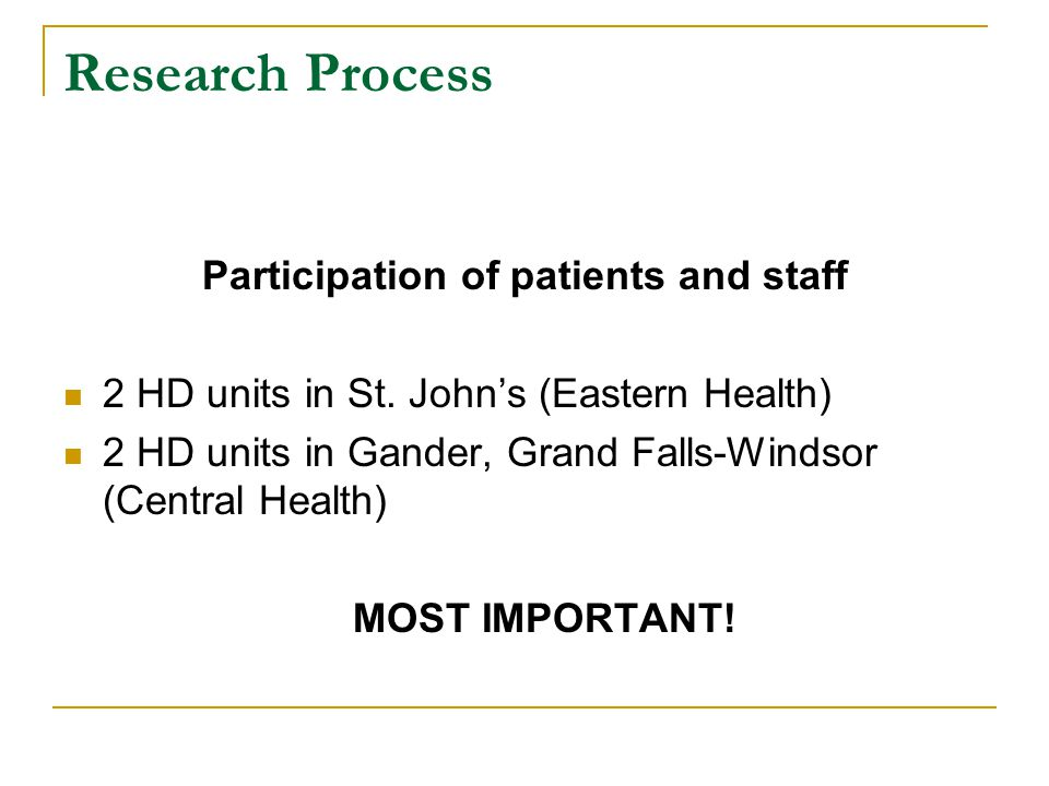 Participation of patients and staff