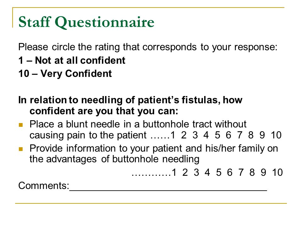 Staff Questionnaire Please circle the rating that corresponds to your response: 1 – Not at all confident.