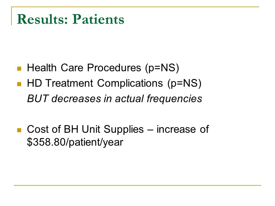 Results: Patients Health Care Procedures (p=NS)