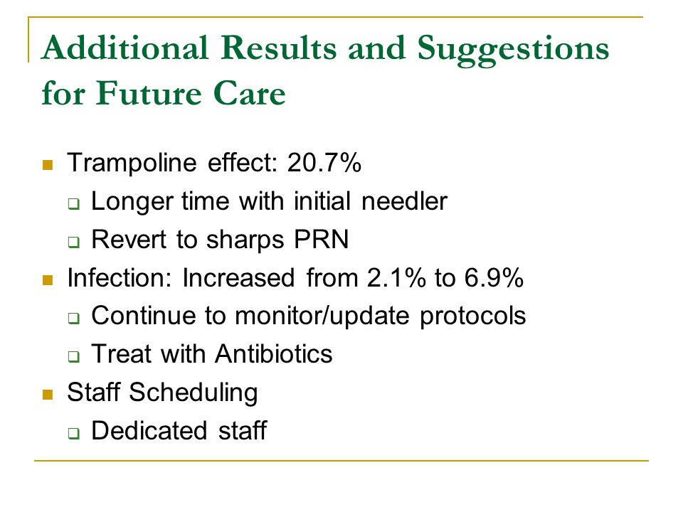Additional Results and Suggestions for Future Care