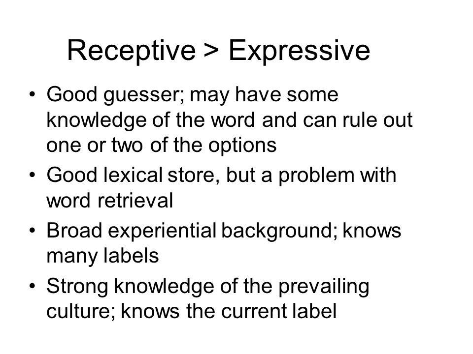 Receptive > Expressive