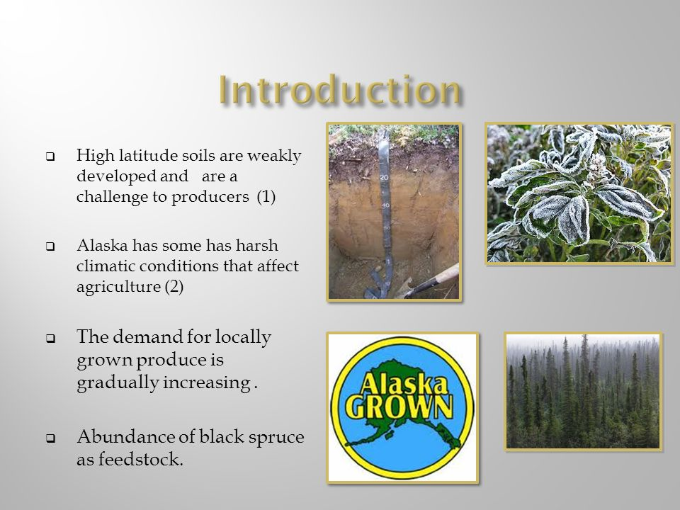 Introduction High latitude soils are weakly developed and are a challenge to producers (1)