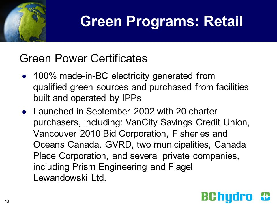 Green Programs: Retail