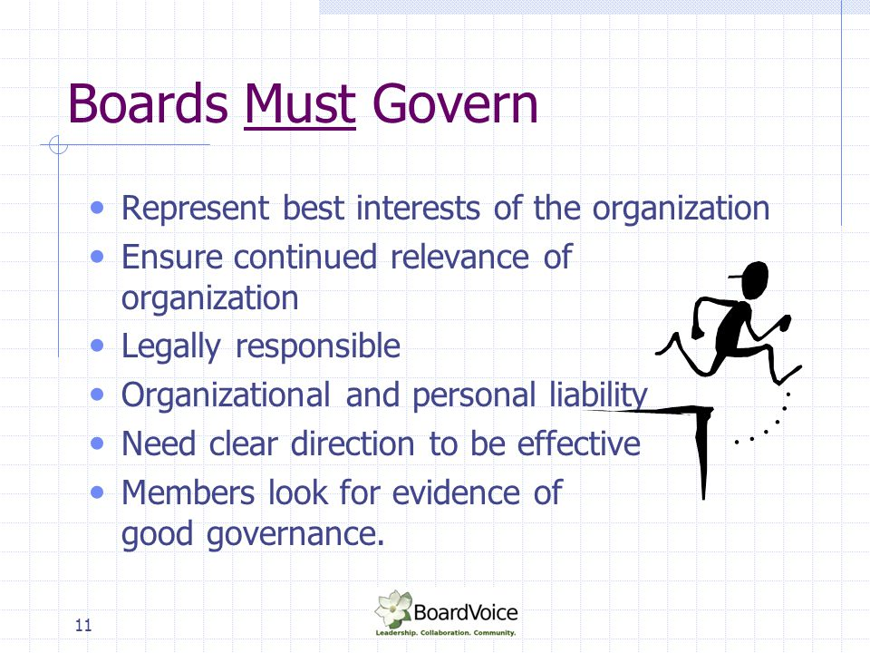 Boards Must Govern Represent best interests of the organization