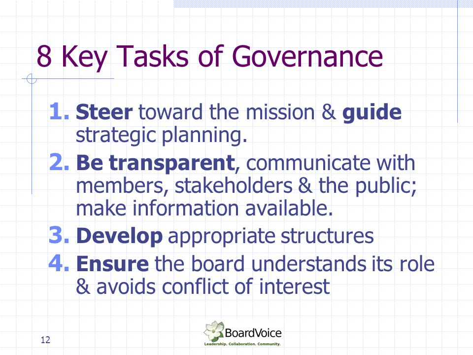 8 Key Tasks of Governance