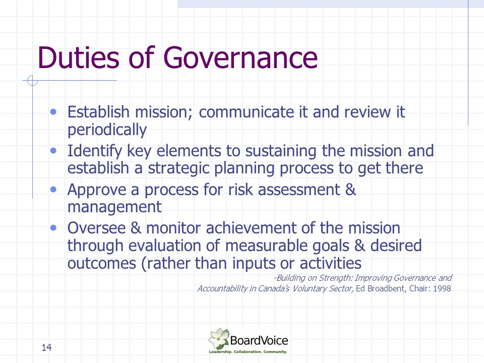 Duties of Governance Establish mission; communicate it and review it periodically.