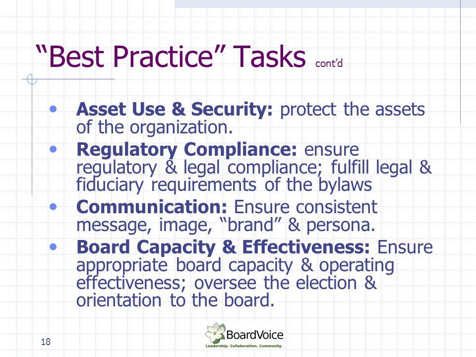 Best Practice Tasks cont'd