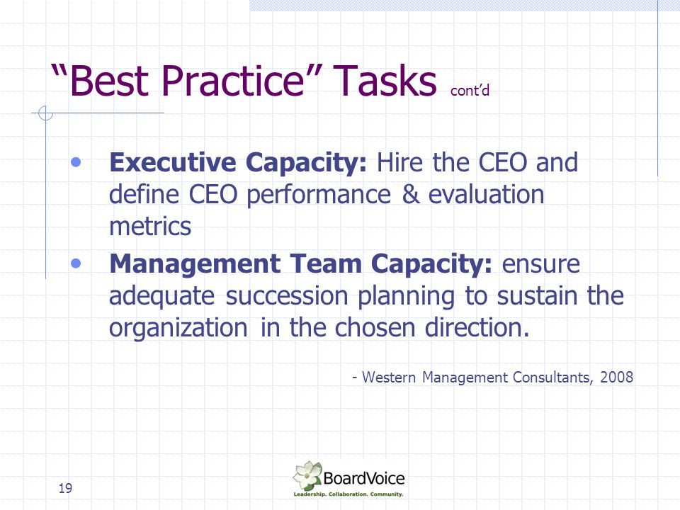 Best Practice Tasks cont'd