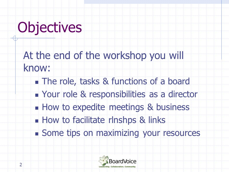 Objectives At the end of the workshop you will know: