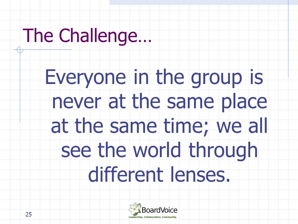 The Challenge… Everyone in the group is never at the same place at the same time; we all see the world through different lenses.