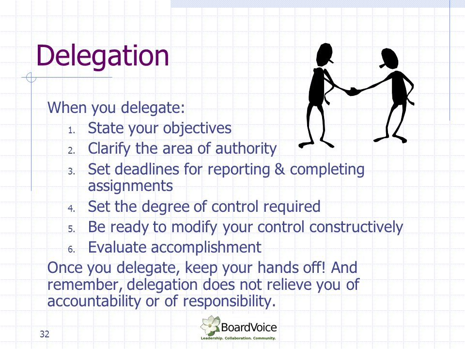 Delegation When you delegate: State your objectives