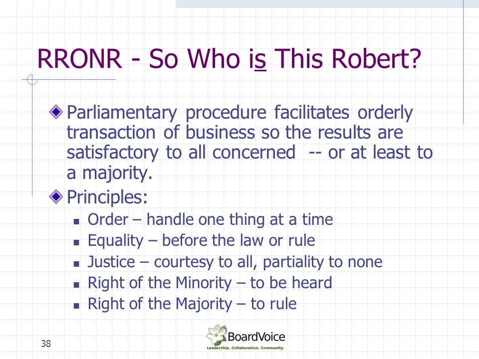 RRONR - So Who is This Robert
