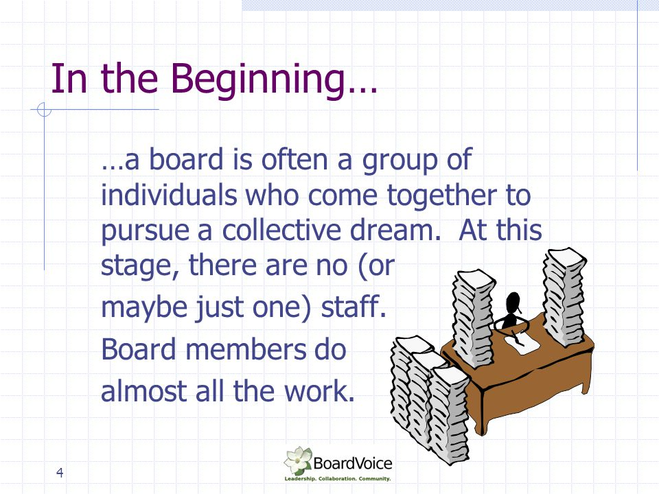In the Beginning… …a board is often a group of individuals who come together to pursue a collective dream. At this stage, there are no (or.
