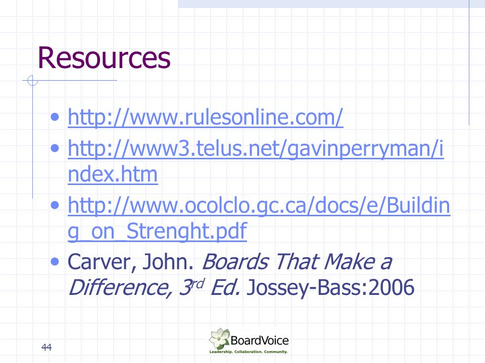 Resources http://www.rulesonline.com/
