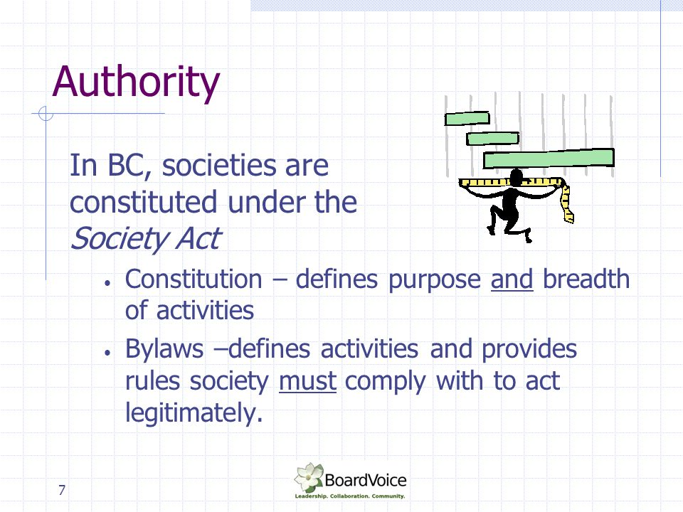 Authority In BC, societies are constituted under the Society Act
