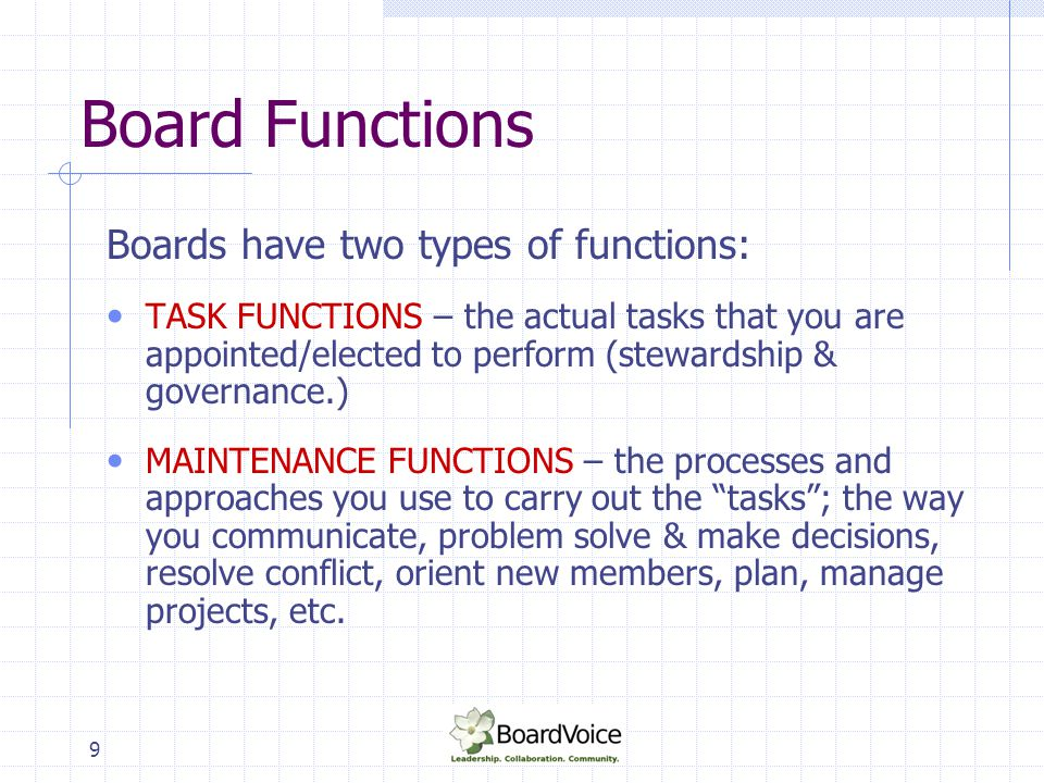 Board Functions Boards have two types of functions: