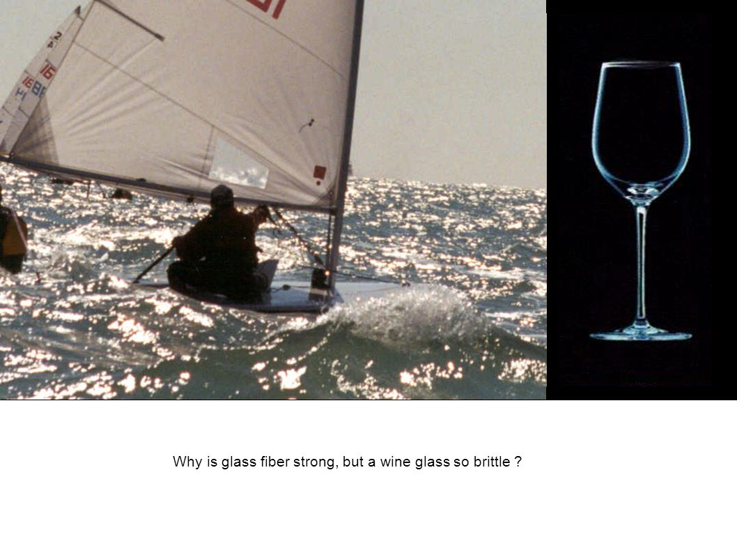 Why is glass fiber strong, but a wine glass so brittle