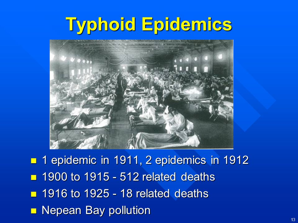 Typhoid Epidemics 1 epidemic in 1911, 2 epidemics in 1912