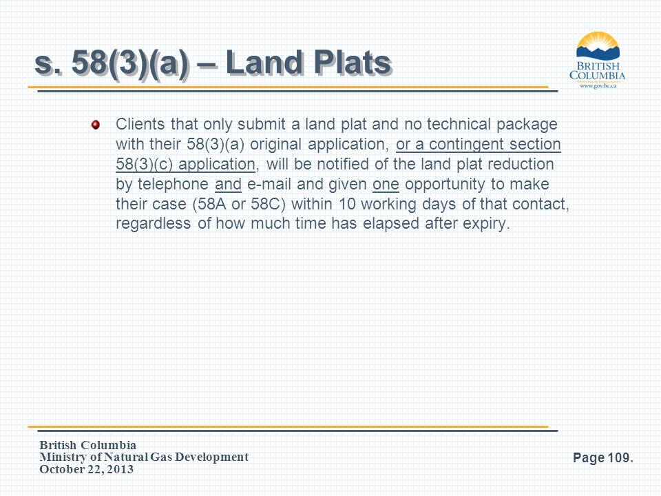 s. 58(3)(a) – Land Plats
