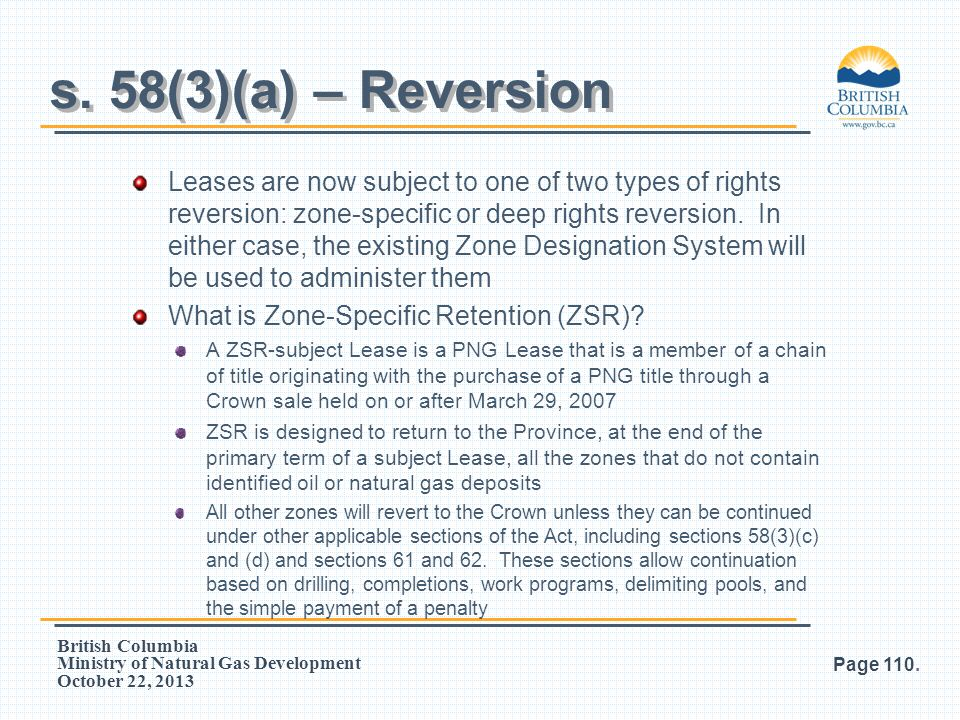 s. 58(3)(a) – Reversion