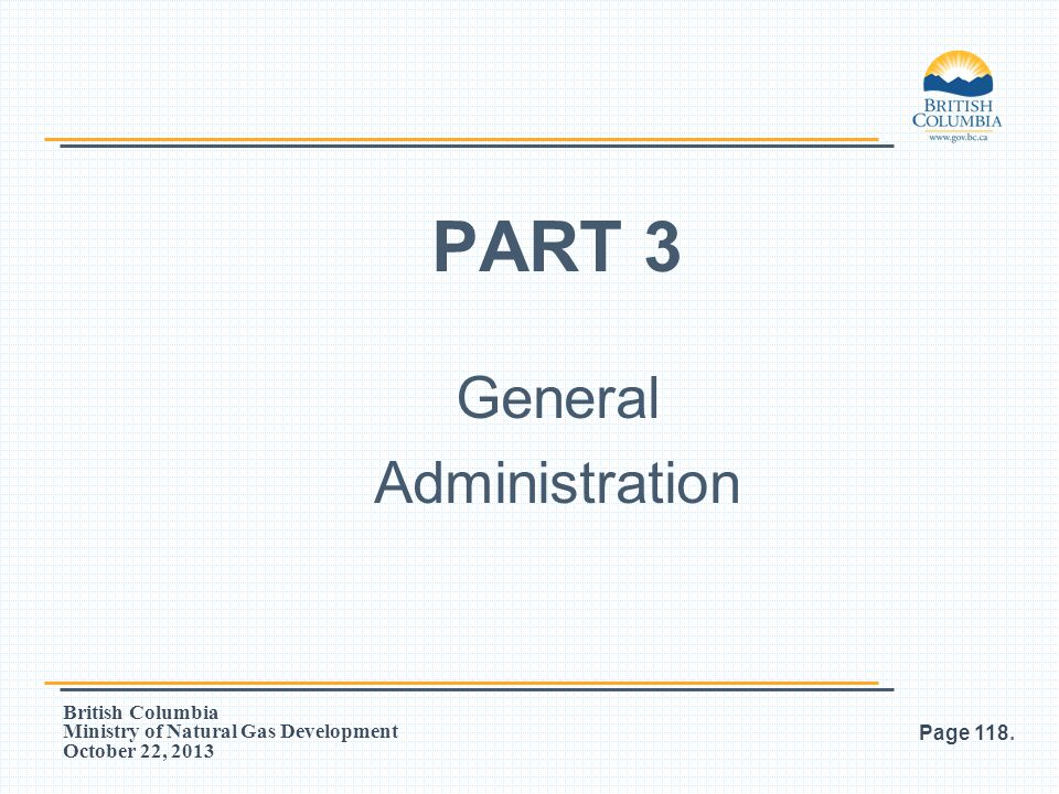 PART 3 General Administration