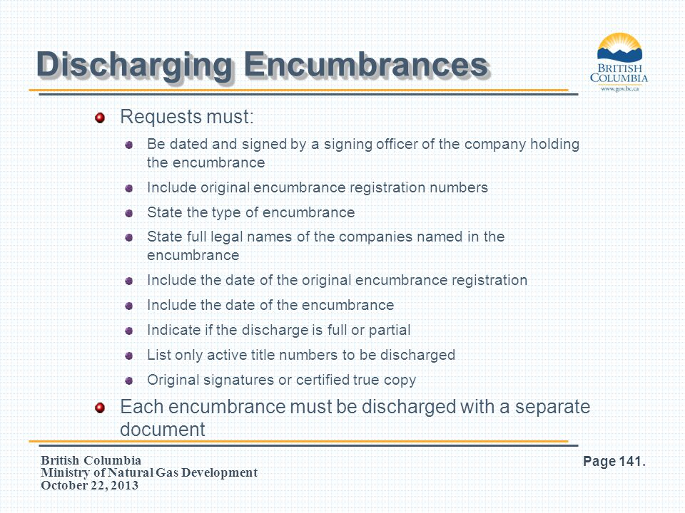 Discharging Encumbrances