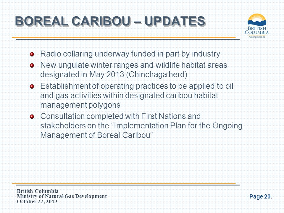 BOREAL CARIBOU – UPDATES