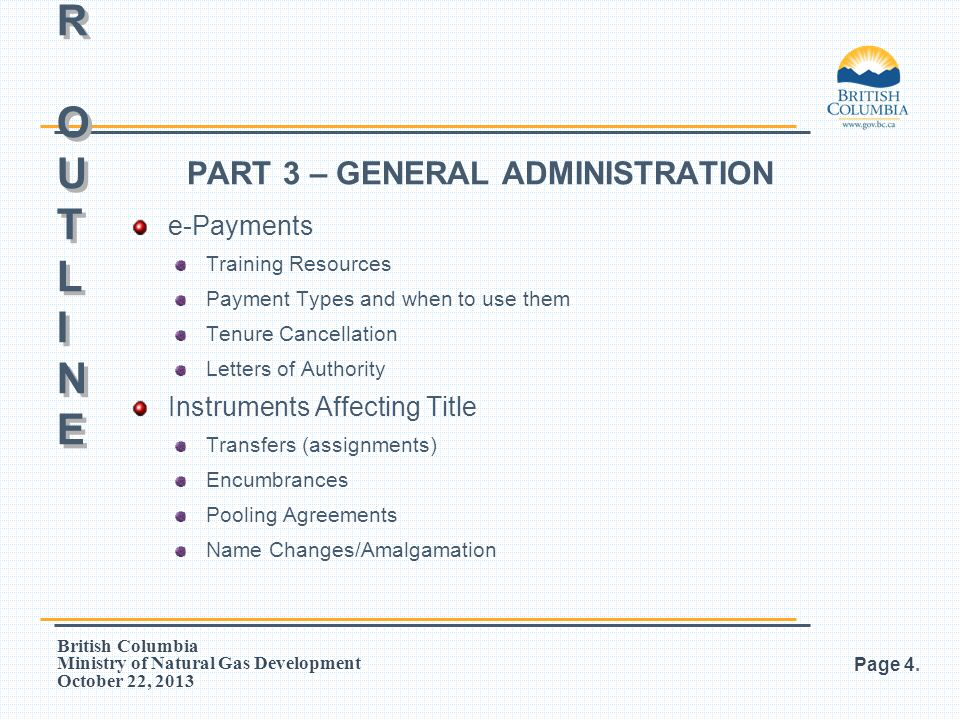PART 3 – GENERAL ADMINISTRATION