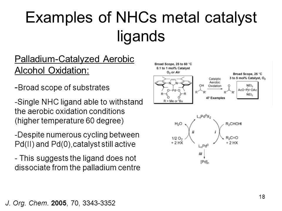 Examples of NHCs metal catalyst ligands
