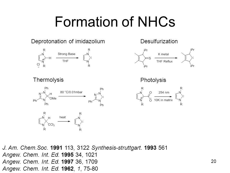Formation of NHCs Deprotonation of imidazolium Desulfurization