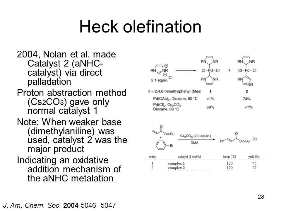Heck olefination 2004, Nolan et al. made Catalyst 2 (aNHC-catalyst) via direct palladation.