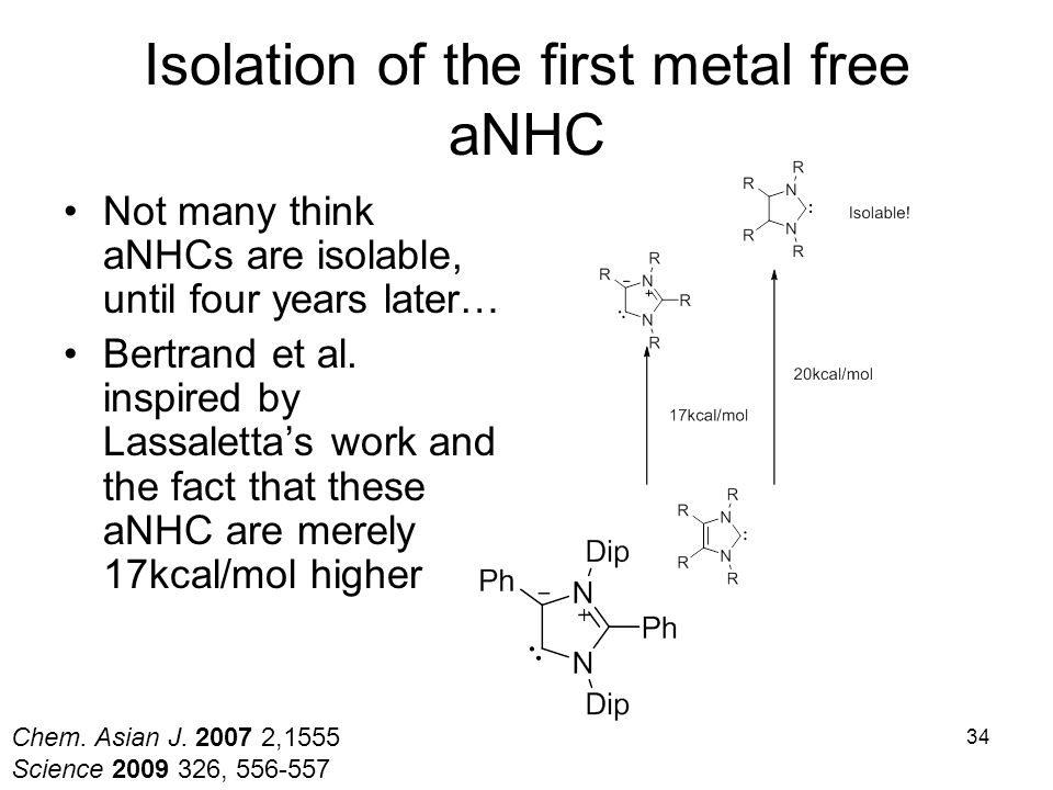 Isolation of the first metal free aNHC