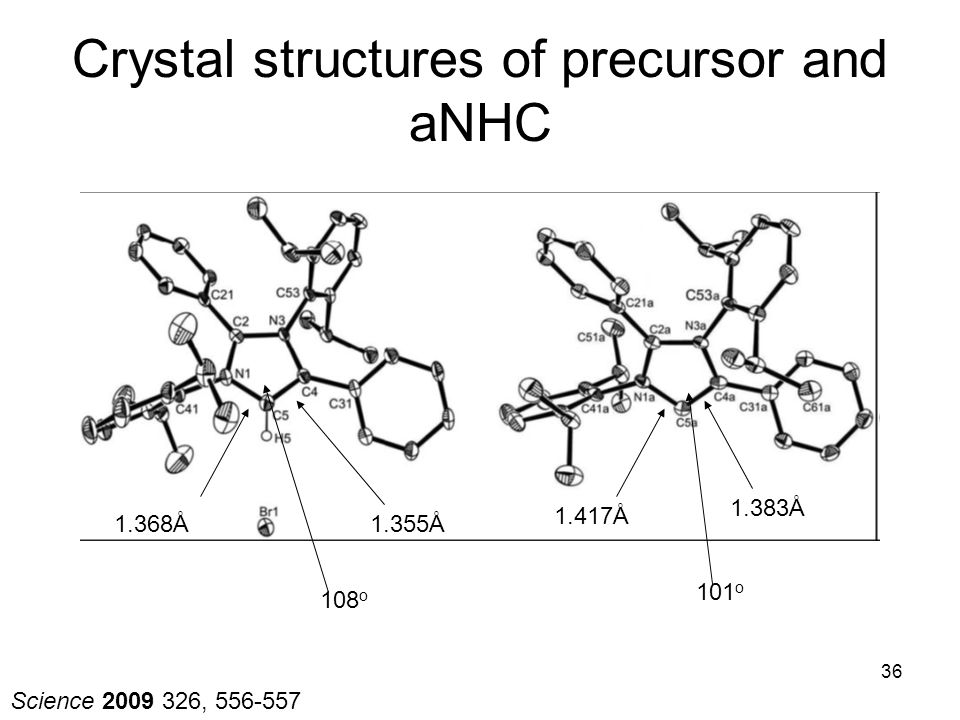 Crystal structures of precursor and aNHC