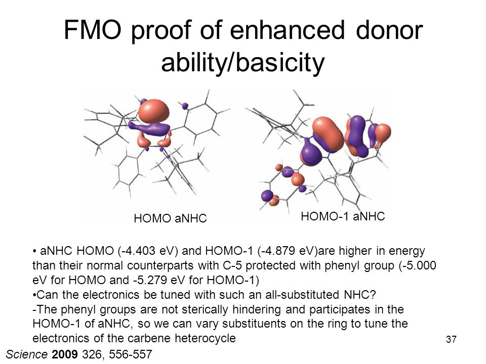 FMO proof of enhanced donor ability/basicity