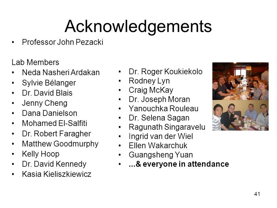 Acknowledgements Professor John Pezacki Lab Members