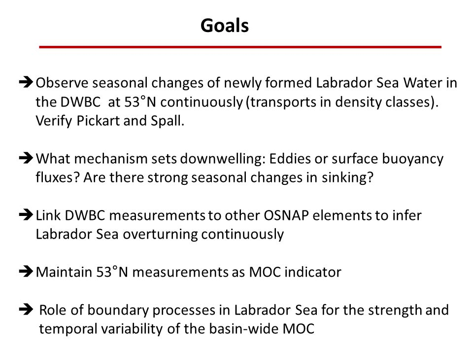 Goals Observe seasonal changes of newly formed Labrador Sea Water in