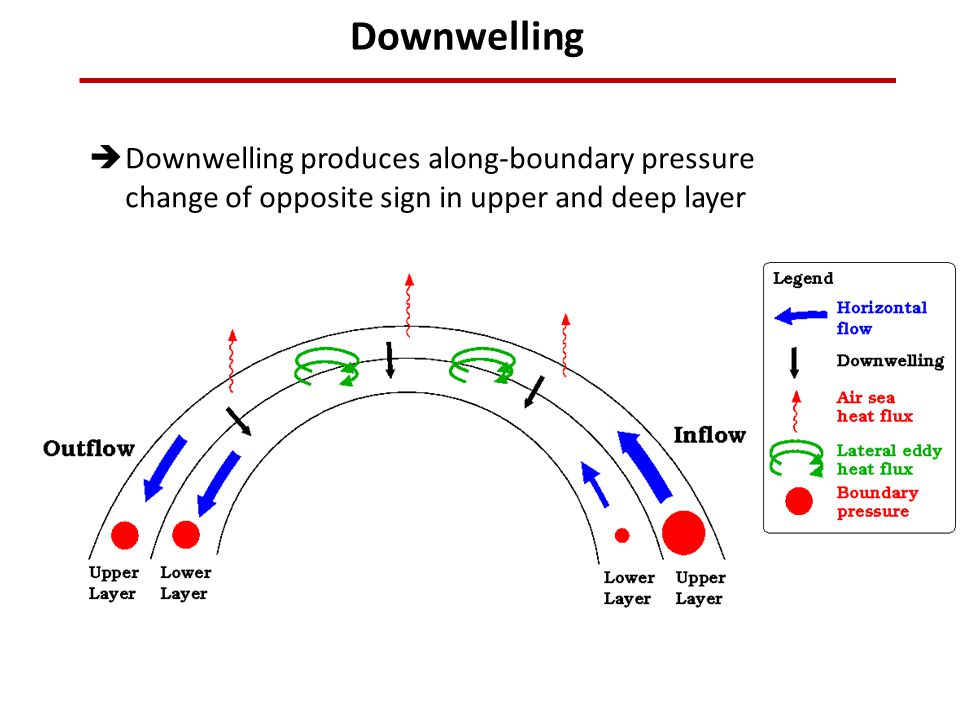 Downwelling Downwelling produces along-boundary pressure