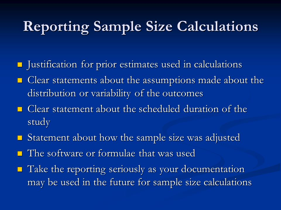 Reporting Sample Size Calculations
