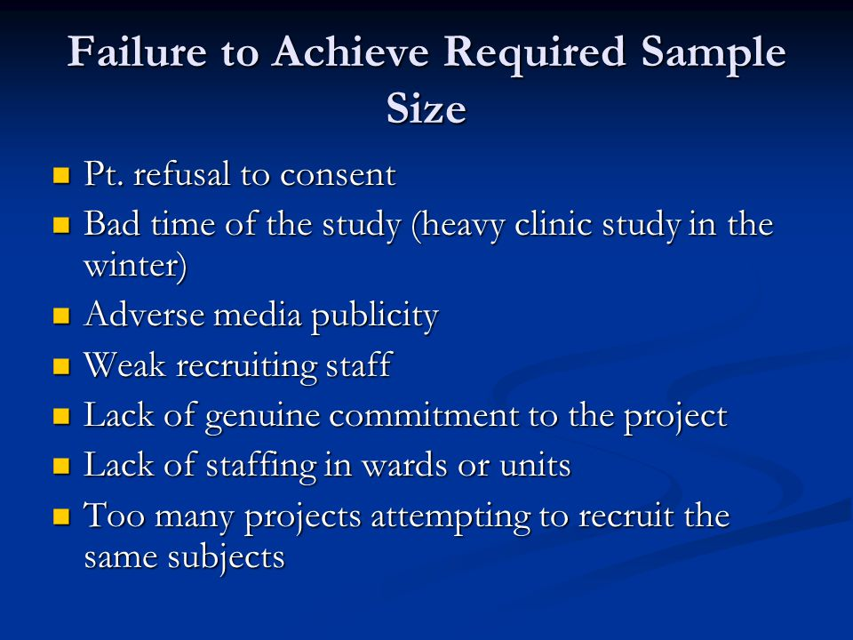 Failure to Achieve Required Sample Size