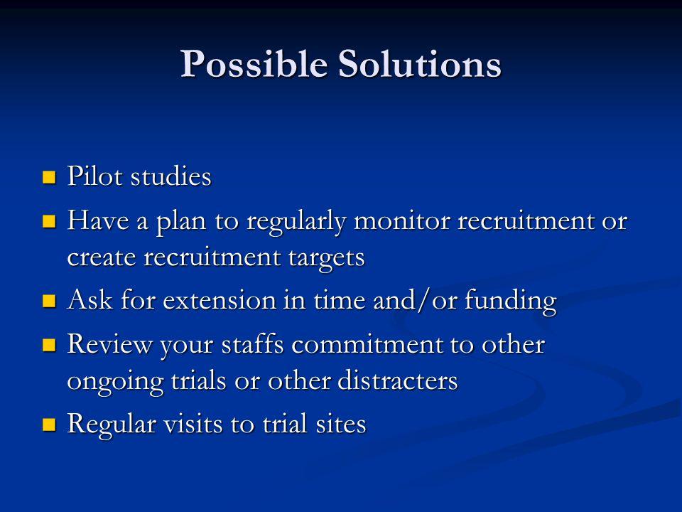 Possible Solutions Pilot studies