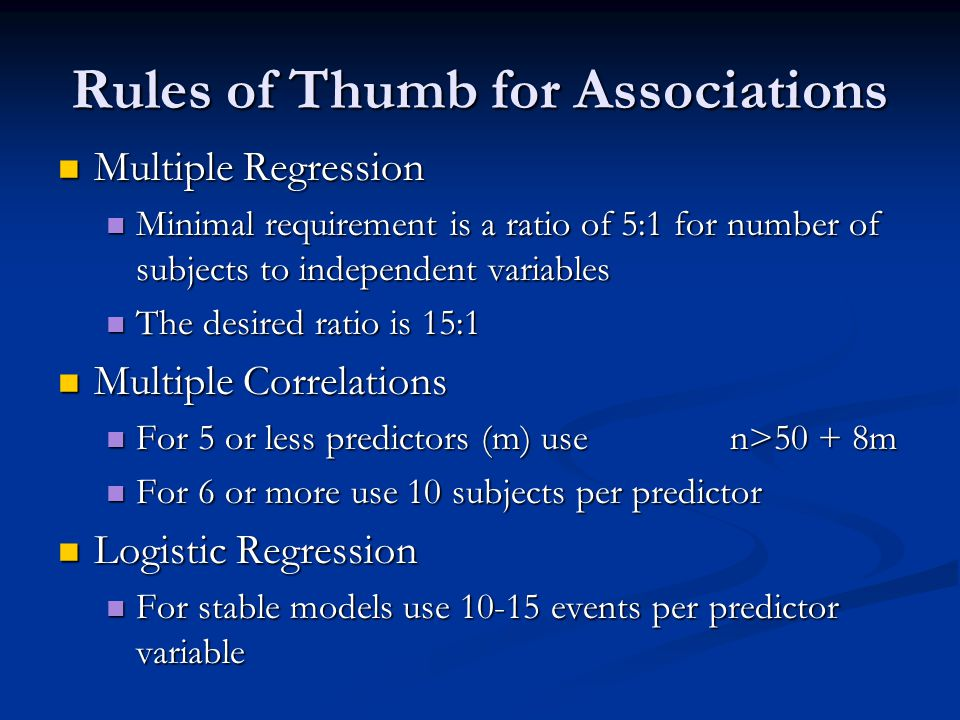 Rules of Thumb for Associations