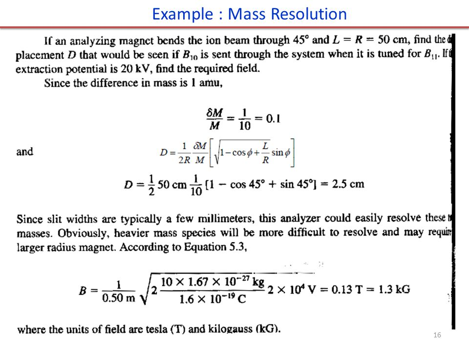 Example : Mass Resolution