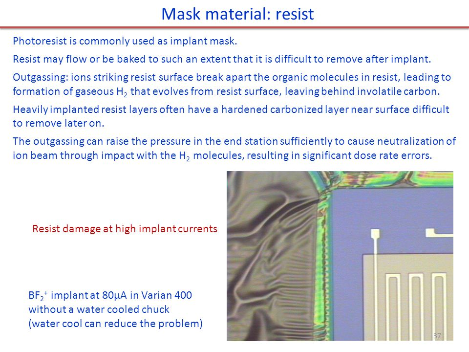 Mask material: resist Photoresist is commonly used as implant mask.