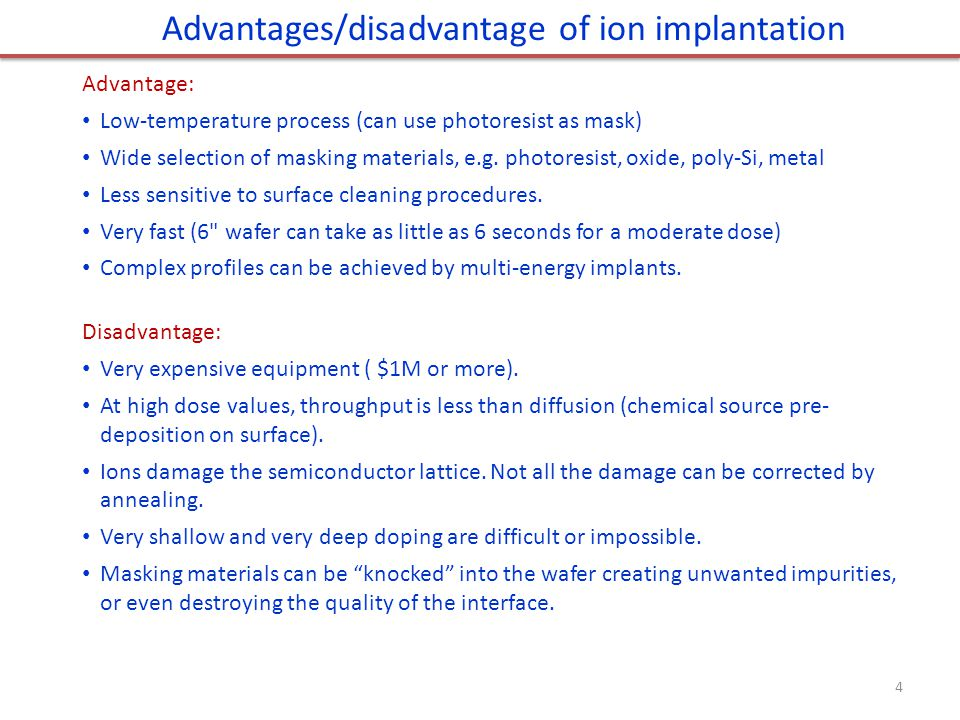 Advantages/disadvantage of ion implantation
