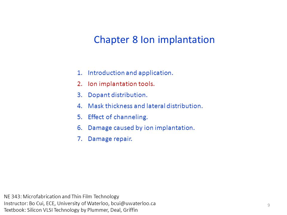 Chapter 8 Ion implantation
