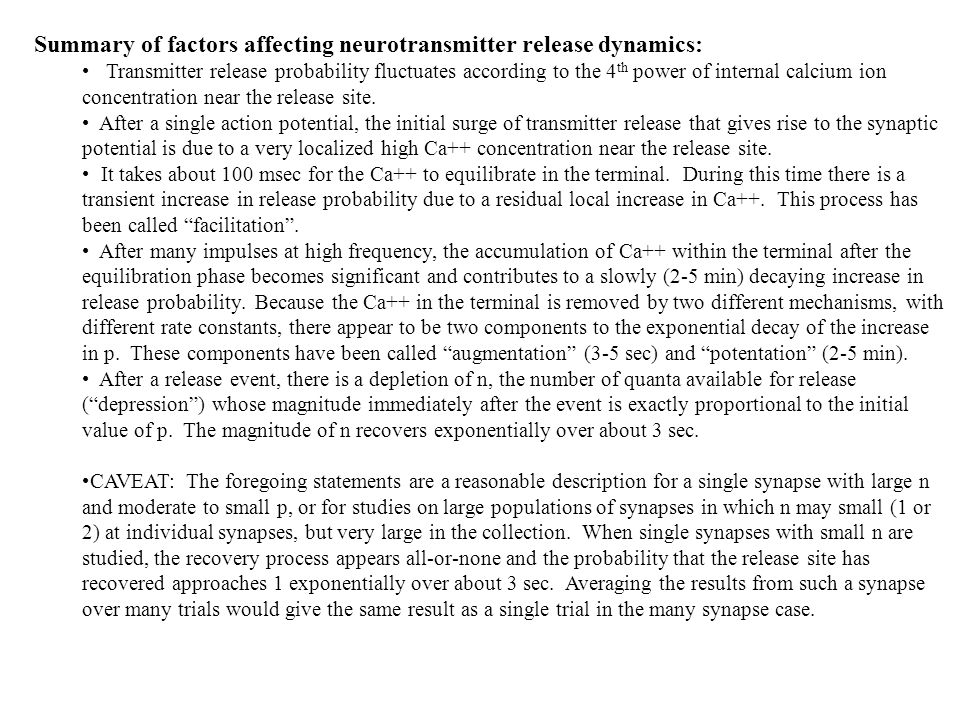 Summary of factors affecting neurotransmitter release dynamics: